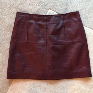 Burgundy mini leather skirt